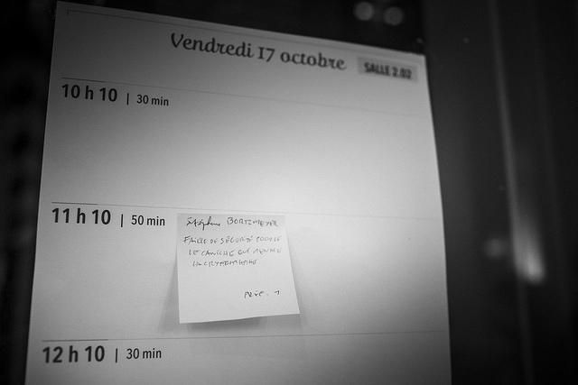 Tableau d'affichage des informelles pendant les conférences Paris Web 2014