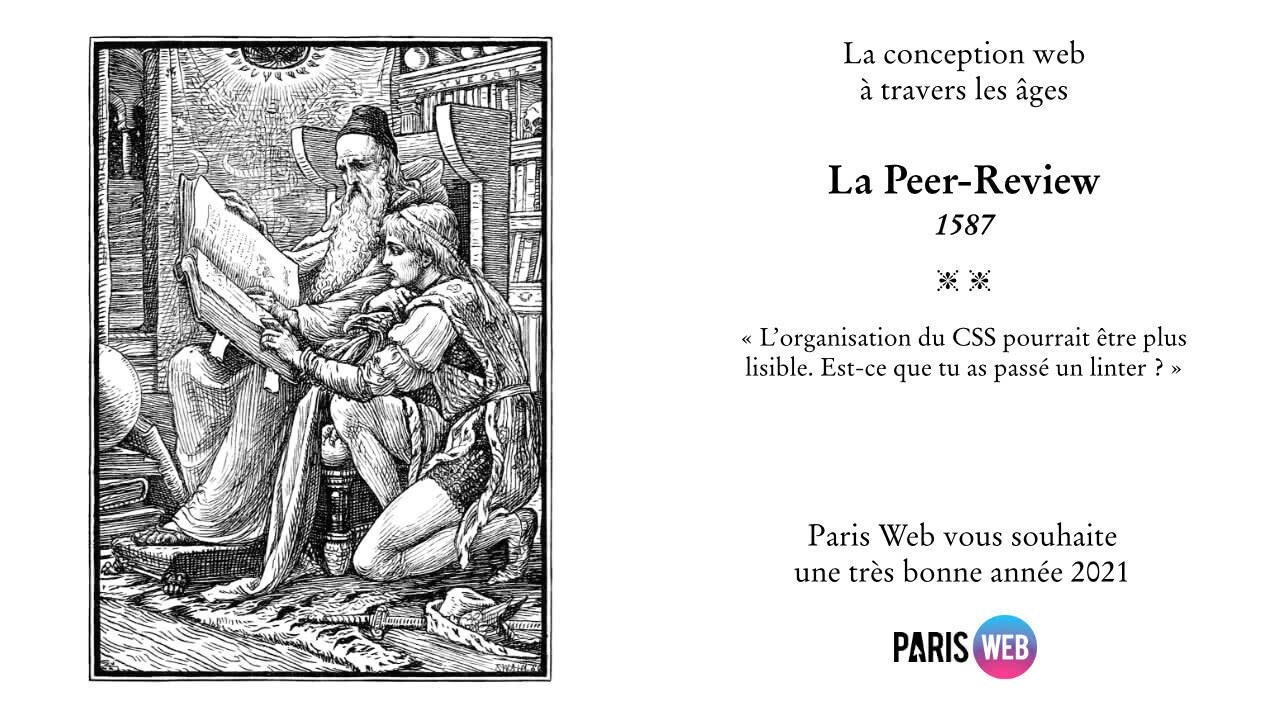 La conception web à travers les âges. La peer-review 1587 - L'organisation du CSS pourrait être plus lisible. Est-ce que tu as passé un linter ?
